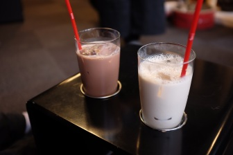 The chai tea and iced coffee, ¥200 each